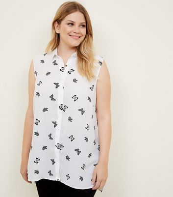 Curves White Butterfly Print Sleeveless Shirt
