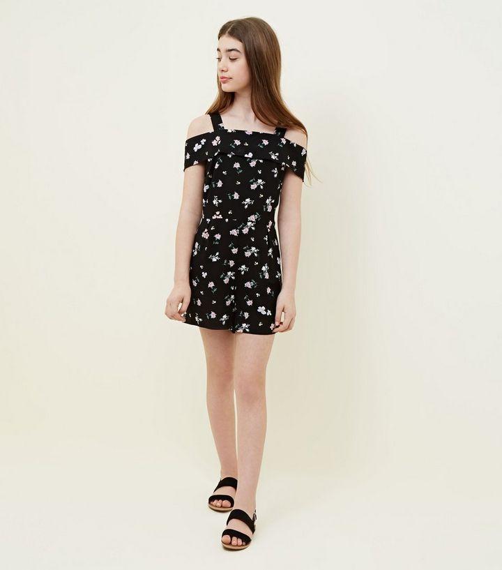 aad10a13c0b ... Girls Black Floral Bardot Playsuit. ×. ×. ×. Shop the look