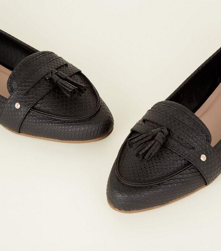 a5b0f9adbd4 ... Black Faux Snakeskin Pointed Tassel Penny Loafers. ×. ×. ×. Shop the  look