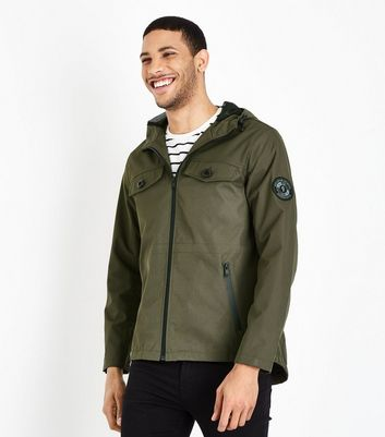 Khaki Grey Hooded Pocket Jacket