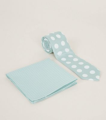Mint Green Polka Dot Pocket Square and Tie Set