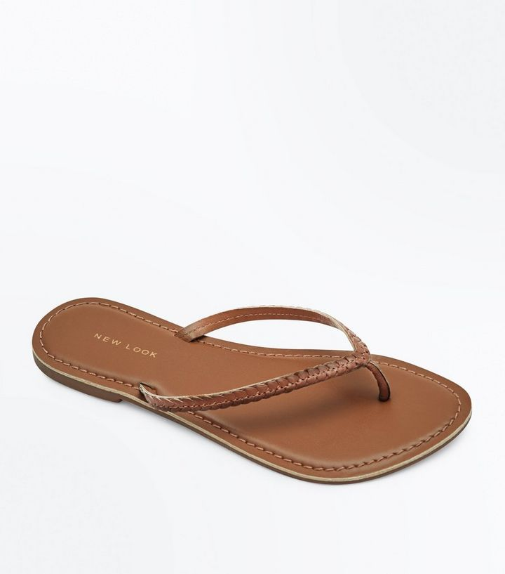 09d301a4ca3f Tan Leather Woven Flip Flops