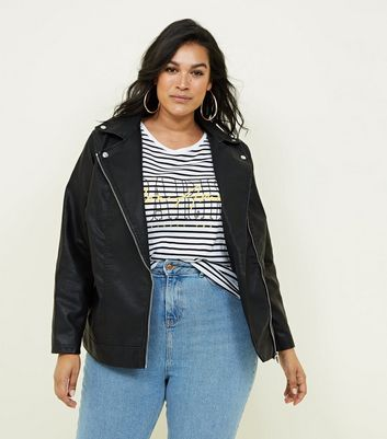 Curves Black Leather-Look Biker Jacket