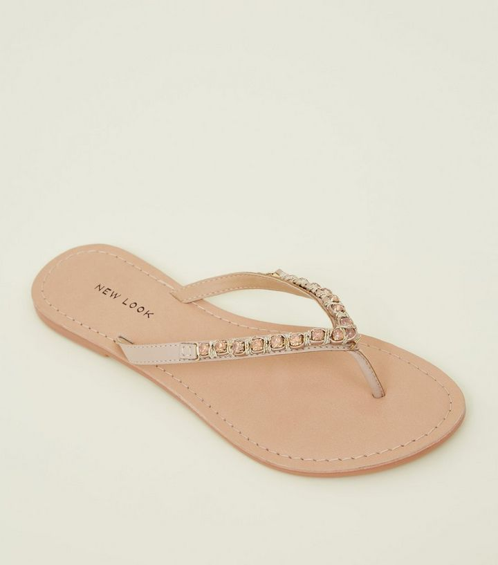 0e74811e1c28b Pink Leather Gem Strap Flip Flops Add to Saved Items Remove from Saved Items