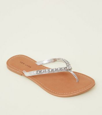 Silver Leather Gem Strap Flip Flops