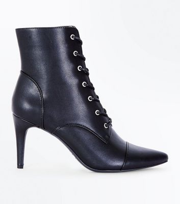 Black Lace Up Pointed Heel Boots | New Look
