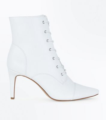White Lace Up Stiletto Heel Boots