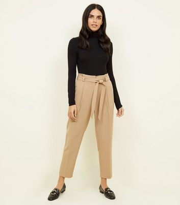 Camel Tie Paperbag Waist Trousers
