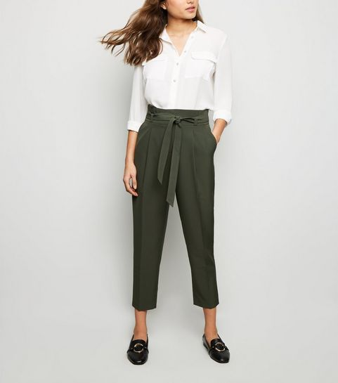fdf4292a1c830 ... Green Tie Paperbag Waist Trousers ...