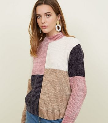 Multi Colour Chenille Colour Block Jumper