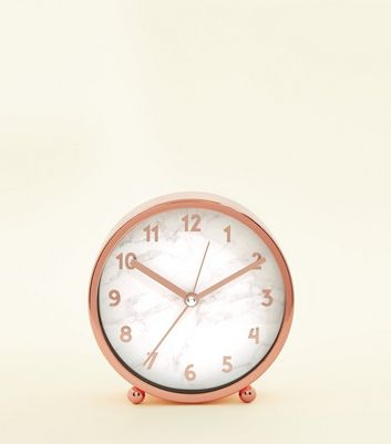 Rose Gold Marble Effect Clock