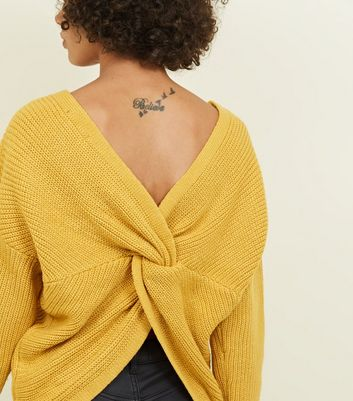Mustard Twist Back Jumper