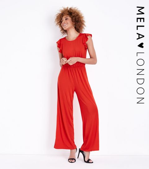 aa19c14d69d ... Mela Red Frill Sleeve Jumpsuit ...