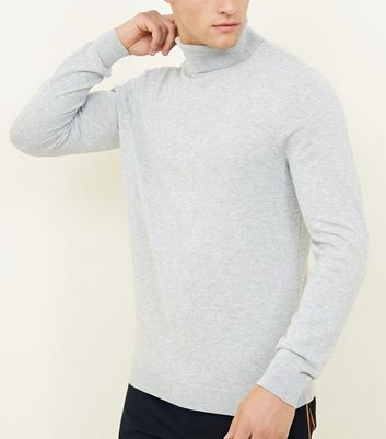 Pale Grey Ribbed Roll Neck Jumper