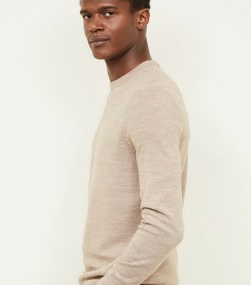Cream Textured Crew Neck Jumper