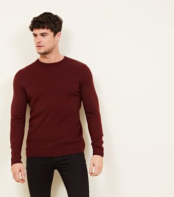 Burgundy Textured Crew Neck Jumper