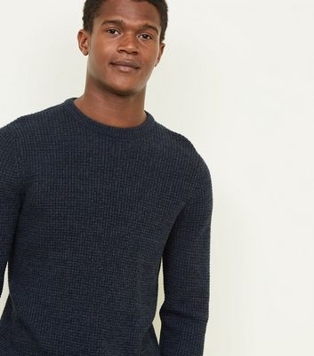 Navy Stitch Knitted Jumper