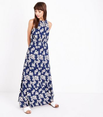 Mela Blue Floral High Neck Maxi Dress