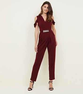 Mela Burgundy Cold Shoulder Belted Jumpsuit