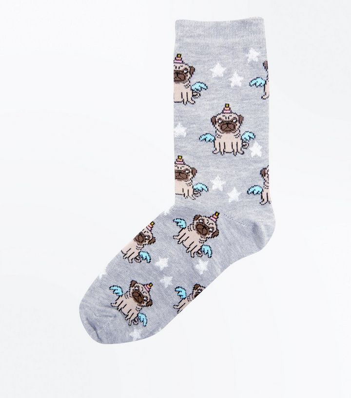 a28a54693a3 Grey Unicorn-Pug Glitter Star Socks