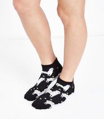 Black Llama Print Trainer Socks New Look