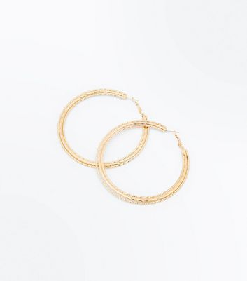 Gold Multi Strand Glitter Hoop Earrings