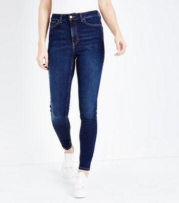 Dark Blue Rinse Wash High Rise Skinny Dahlia Jeans New Look
