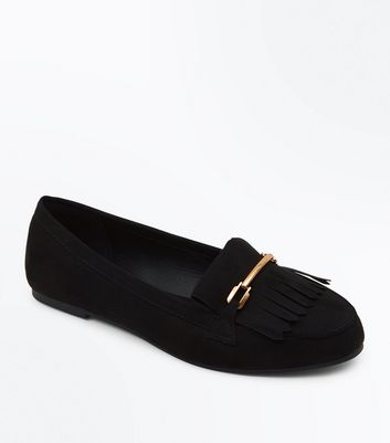 Wide Fit Black Suedette Fringe Trim Loafers