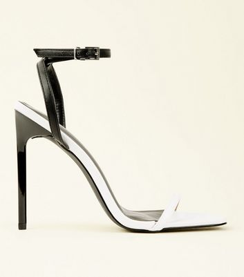 Black and White Square Toe Barely There Stilettos