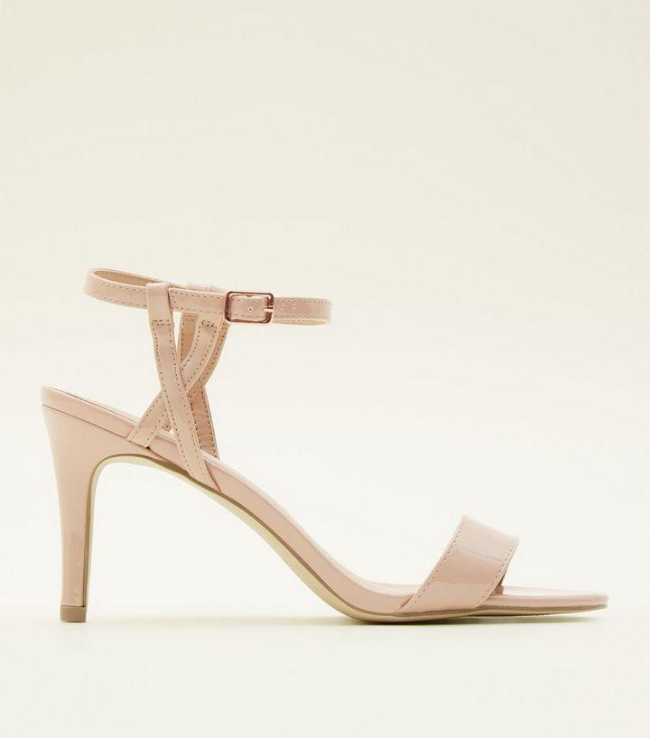 acbc729da5489 Nude Patent Twist Strap Mid Heel Sandals   New Look
