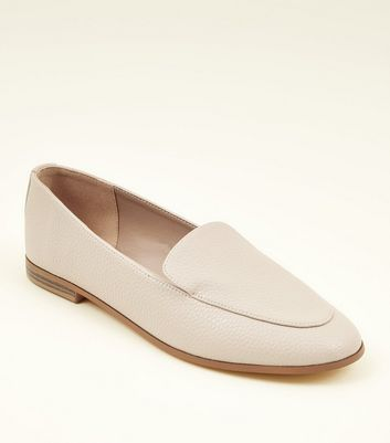 Cream Leather-Look Loafers