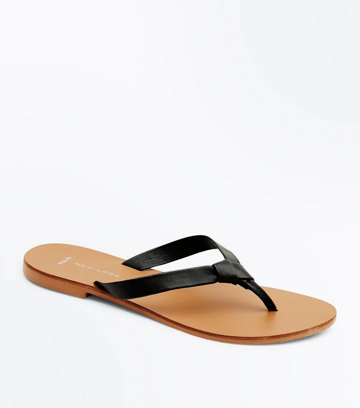 6305655d2e0ca8 Wide Fit Black Leather Knot Strap Flip Flops