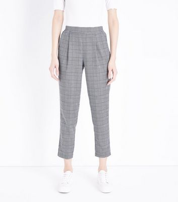 Black Check High Waist Tapered Trousers New Look