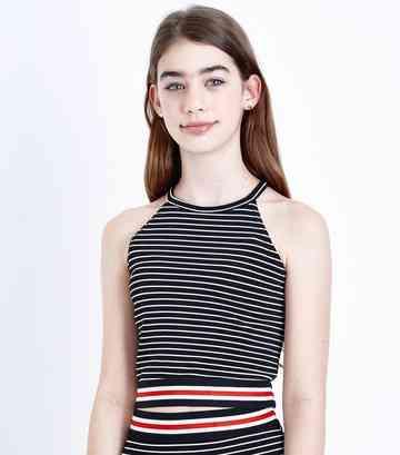 05fe2a61d24 Girls Black Stripe Contrast Hem Cami Top ...