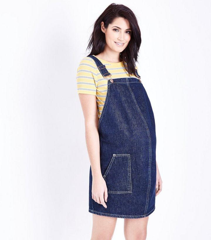 5bb894ac5522c Maternity Blue Denim Pinafore Dress   New Look