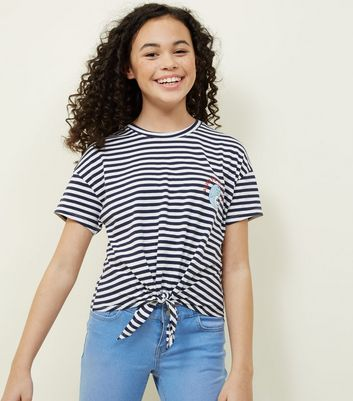 Girls Blue Stripe Narwhal T-Shirt