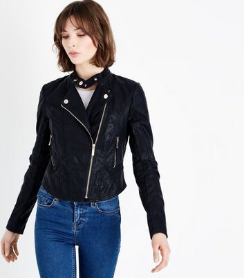 Black Zip-Up Leather-Look Biker Jacket
