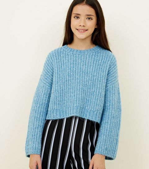 76718617dc ... Girls Pale Blue Wide Sleeve Knitted Jumper ...