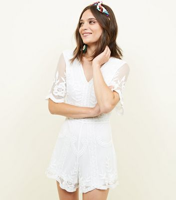 Cream Crochet Embroidered Mesh Playsuit New Look