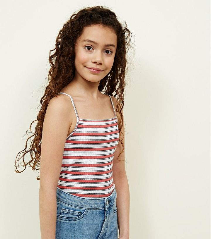 541006b13e68 Girls Orange Stripe Ribbed Cami | New Look