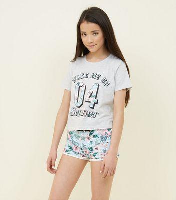 Teens Pale Grey Wake Me Up Pyjama Set New Look