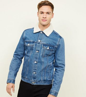 Blue Washed Borg Lined Denim Jacket