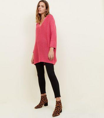 Noisy May Bright Pink V-Neck Oversized Jumper New Look