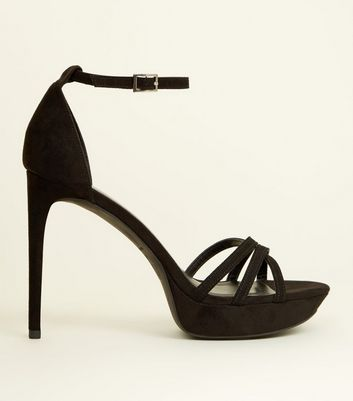 Black Suedette Strappy Platform Stiletto Sandals