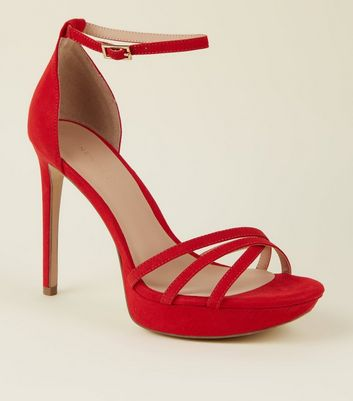 Red Suedette Strappy Platform Stiletto Sandals