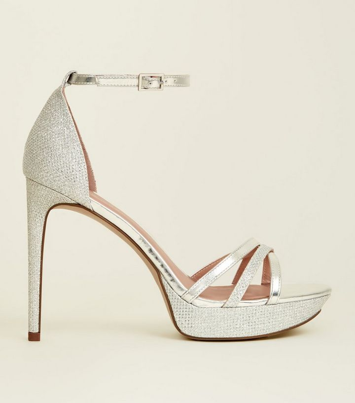 fcac022c913 Silver Peep Toe Ankle Strap Platform Heels
