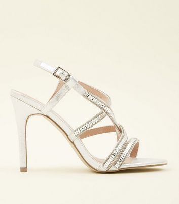 Silver Gem Embellished Strappy Stiletto Sandals