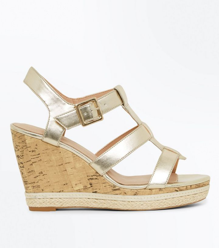 835f5437cca Gold Comfort Gladiator Cork Wedges Add to Saved Items Remove from Saved  Items
