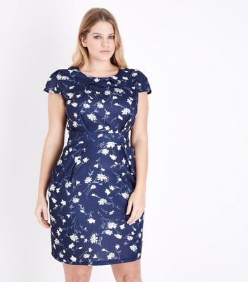 Blue Vanilla Curves Navy Floral Print Tulip Dress