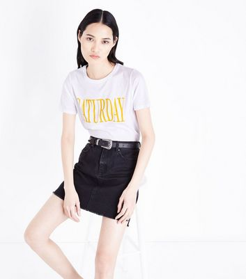 White Saturday Slogan T-Shirt New Look